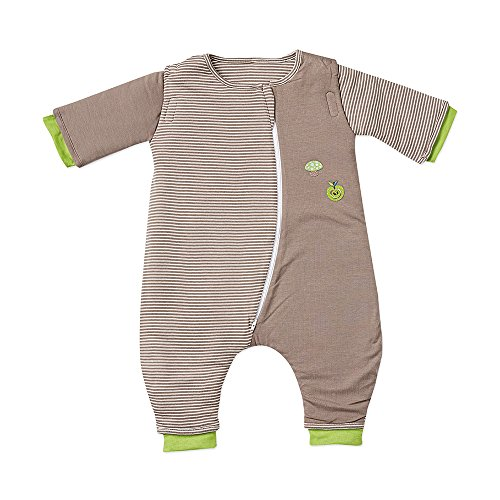 Gesslein Bubou Walker Design 180: Temperatuurregulerende slaapzak voor het hele jaar door/slaapzak voor baby's/kinderen met benen, maat 90, bruin natuur met appel