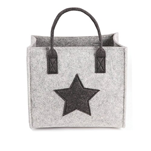 X-Labor Stern Einkaufstasche Filz Stoff Shopper Bag Henkeltasche Einkaufskorb Aufbewahrungskorb Kaminholztasche Holzkorb hell grau L