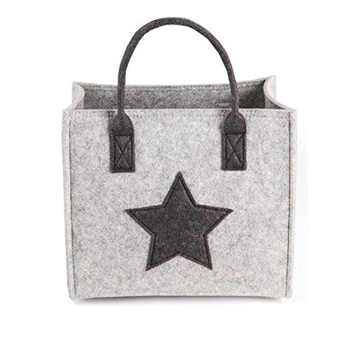X-Labor Stern Einkaufstasche Filz Stoff Shopper Bag Henkeltasche Einkaufskorb Aufbewahrungskorb Kaminholztasche Holzkorb hell grau M