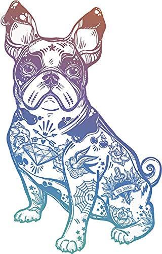 EW Designs Pretty Pastel Ombre Tattooed French Bulldog Cartoon Art Vinyl Decal Bumper Sticker (4' Tall)