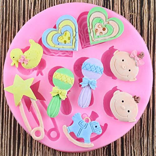 SHEANAON Molde de Silicona para bebé, moldes para Fondant, Herramientas para Manualidades de azúcar, moldes para Pasteles con Fondant de Chocolate, moldes de Silicona para confitería
