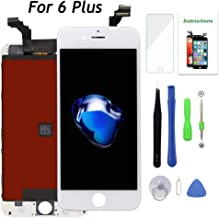 Screen Replacement for iPhone 6 Plus White LCD Display 3D Touch Screen Digitizer 5.5 Inch Frame Assembly Set with Repair Tools(iPhone 6 Plus Screen, White)