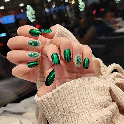 YFLDK Uñas postizas 24 piezas/en caja de uñas postizas verdes ovaladas con prensa a prueba de agua en las puntas de las uñas con pegamento cubierta completa de productos acrílicos para niñas