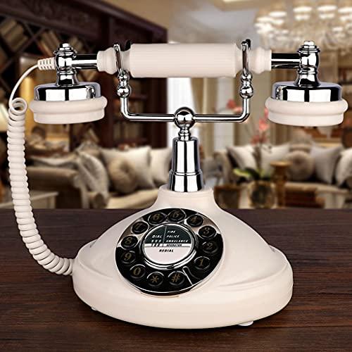 ZYING ZORE Teléfono Fijo Retro Blanco Hecho de ABS Antiguo Teléfono Fijo Antiguo Cuarejado Relde for Home Office Hotel Bar Sala de Lectura