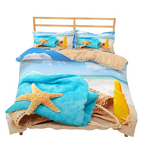 Erosebridal Starfish Duvet Cover Set King Size Beach Decor Bedding Set for Adult Teens Quilt Cover Animal Hawaii Vacation Theme Comforter Cover for Children Kids Sea Star Printed Bedspread Cover
