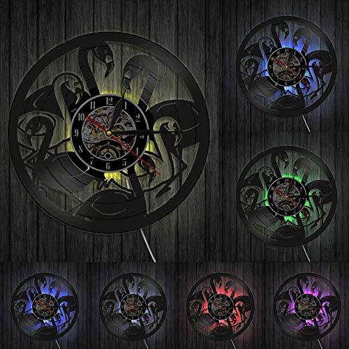 Reloj de pared de cuarzo con diseño de flamencos tropicales, diseño de animales grabado con láser