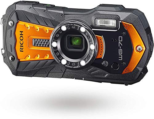 Pentax RICOH WG-70 oranje waterdichte camera met hoge resolutie foto's met 16 MP waterdicht tot 14 m stootvast tot valhoogte van 1,6 m onderwatermodus ring met 6 LED's voor macro-opnames