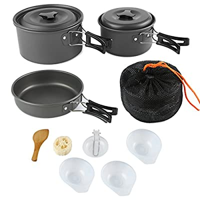 ARAER Camping Cookware Set, 10pcs:2-3 Person/16pcs:4-5 Person Mess Kit with Non-Stick Aluminum Pot Pan, BPA-Free Bowls/Plates and Nylon Bag, Perfect for Camping, Hiking, Travel, Backpacking, Picnic