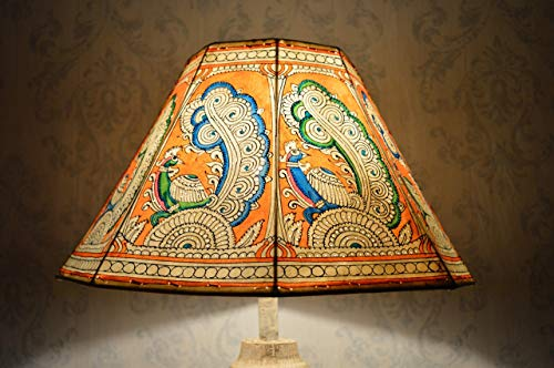 Orange Peacock Lampshade Large | Hand Painted Leather Lampshade in Decagonal Shape - H-9.5 and W-16 inches