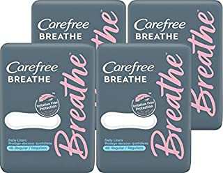 Carefree Breathe Panty Liners, Irritation-Free Protection, Individually Wrapped, - 48 Count (Pack of 4)