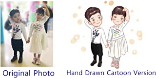 Moments Prints Custom Cartoon Portrait, Personalized Hand Painted Caricature, Cute Drawing for Family, Couple, Friends & Pets (jpg File) (1 Subject)