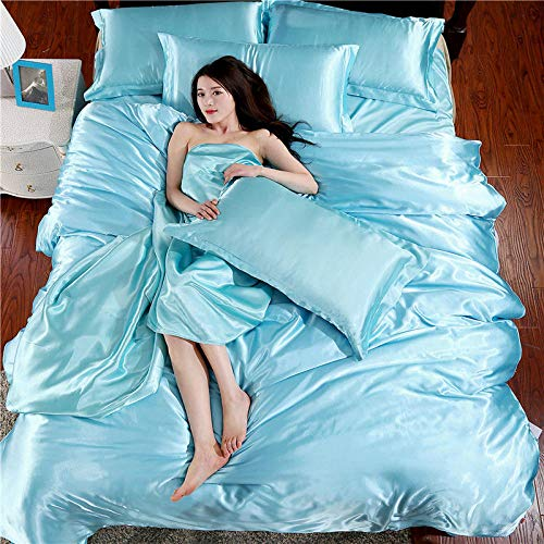 superking duvet covers-Spring and summer solid color simulation silk four-piece double silk naked sleep students dormitory bed single down detached pillow condom-K_1.8M bed (4 pieces)