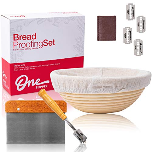 One Supply 9in Round Banneton Bread Proofing Basket Set | Premium Stainless Steel Bread Lame (extra blades) & Bread Scraper Tool | Bread Baking Essentials Kit