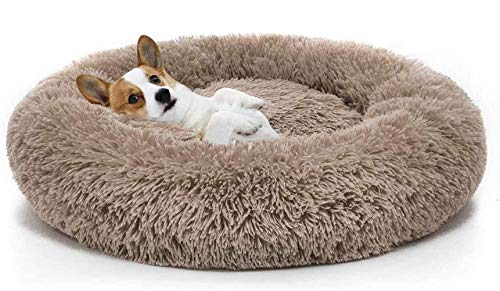 Cama suave para mascotas ITODA para gatos y perros pequeños y medianos, cojín redondo para cama nido, cama portátil para gato, perro, cachorro, sofá cama de dona