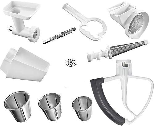 high quality KitchenAid DRTVICE4 (FGA+RVSA+FVSP+KFE5T) Stand Mixer Attachment Pack Food Grinder/Fruit Vegetable Strainer/Rotor Slicer outlet sale Shredder/Flex Edge wholesale Beater online sale