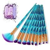 HZD 10Pcs Diamond Shape Makeup Brushes Set Beauty Cosmetic Eyeshadow Lip Powder Face Pinceis Tool Kabuki Brush Kits Pincel,Blue
