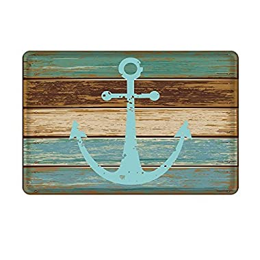 Bathroom Rug, Uphome Vintage Retro Nautical Anchor Flannel Microfiber Foam Bath Mat - Turquoise and Brown Non-slip Soft Absorbent Bathroom Mat Kitchen Floor Carpet (20 W x 31 L)