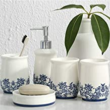 ATUKI |Bathroom Accessories Sets|Pieces Bathroom Accessories Set Blue and White Porcelain Toothbrush Holder Soap Dish Dispenser Lotion Bottle 2 Tumblers