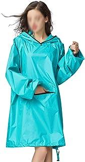 WZHZJ Women's Stylish Waterproof Rain Poncho Cloak Raincoat with Hood Sleeves and Big Pocket on Front