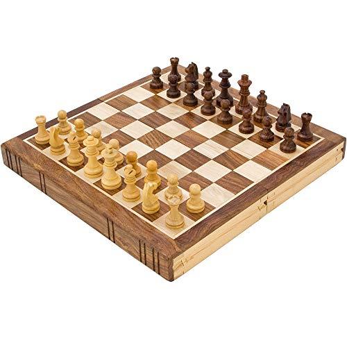 The Regency Chess Company 25.4cm Fermalibri Intarsiato Dorato Palissandro Set di Scacchi