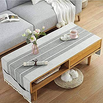 Linen Coffee Tablecloth with Pockets Rectangular Tea Table Cloth Cover Washer Dryer Top Covers Fridge Dust Cover  Light gray-B