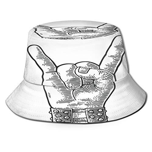 Sombrero de Pesca,Pulsera con Pinchos de Metal con Signo de Mano de Rock and Roll Que le da al Diablo Gesto de,Senderismo para Hombres y Mujeres al Aire Libre Sombrero de Cubo Sombrero para el Sol