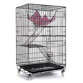 AVEEN 3-Tier Small Cat Cage Playpen Box Kennel Crate with 2 Front Doors & Free Hammock - 40 x 24 x 17 Inches(Black)