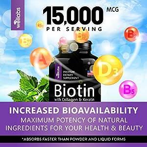 Biotin, Keratin & Collagen Pills - Marine Collagen & Biotin Vitamins for Hair, Skin, and Nails - Made in The USA - Collagen Peptides, Keratin & Biotin Supplement for Nail & Hair Growth