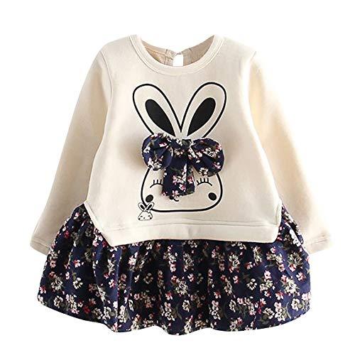 JERFER JERFER Karikatur Hase Kleid Kleinkind Baby Mädchen Bunny Floral Prinzessin Party Kleid