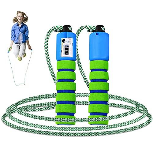 Comba de Salto para niños con contador,Cuerda para Saltar Ajustable Cuerda Saltar y Mango para entrenamiento físico y boxeo Actividad al Aire Libre