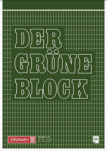 Brunnen 1052639 Briefblock / Schreibblock / Der grüne Block (A4, rautiert, 50 Blatt, 60g/m²)