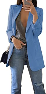 Phyhrt Fashion Women Solid Long Sleeve Office No-Buckle Blazer Coat Suit Long Open Front Cardigan Jackets Blouses
