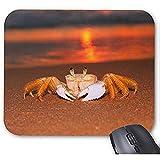Cangrejo Lindo en una Playa romántica mar Puesta de Sol Foto Alfombrilla de ratón 30 * 25 * 0,3 cm Alfombrilla de ratón Alfombrilla de ratón de diseño de Moda