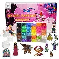 ヒューズビーズキット My Girl Fantasy Journey La Ban Collection 9,000ビーズ 5mm 36色 30 ファンタジーキャラクター 60色紙 8ペグボード 2ピンセット 10アイロンペーパー。 誕生日プレゼントやあらゆるお祝いに最適です。