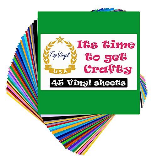 """TopVinyl 12"""" x 12"""" Permanent Adhesive Vinyl Sheets for Cricut Vinyl Projects - 45 Vinyl Sheets, Assorted Colors Pack."""