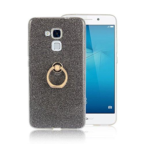 Funluna Huawei Honor 5C Hülle mit Ring Ständer, Bling Glitzer Handyhülle Weich TPU Silikon Schutzhülle Schale Tasche mit 360 Rotierendem Ring Fingerhalterung Ständer für Huawei Honor 5C
