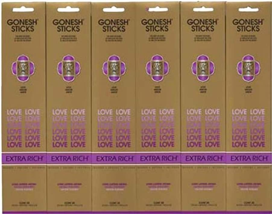ファンド強大な移植GONESH LOVE ラブ スティック 20本入り X 6パック (120本)