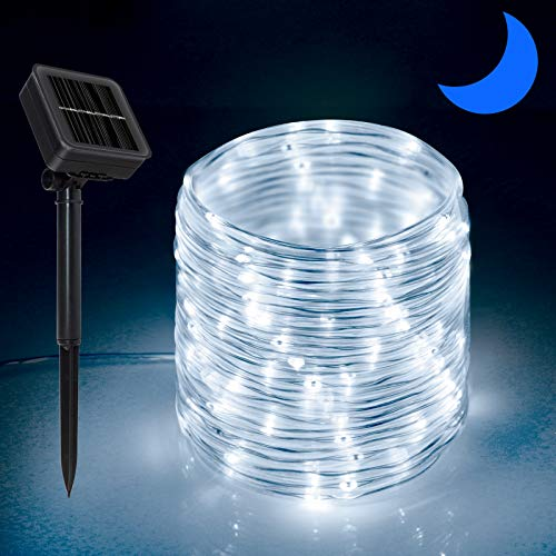 Solar Outdoor Rope Lights, 66ft 200leds Solar Powered Rope Lights Outdoor, 8 Modes Dimmable/Timer Remote String Light 3.7V/1200mAh Rope Solar Lights Outdoor Waterproof for Garden Decor, White