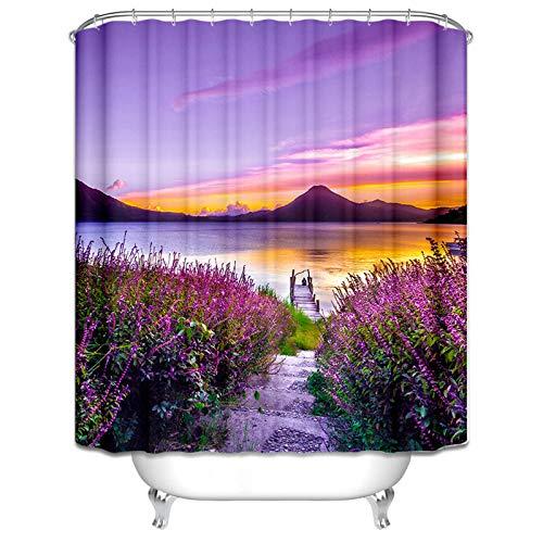 AmDxD Waschbar Polyester Duschvorhang Lavendel Durch Den Fluss at Sonnenuntergang Design Bad Vorhang Digitaldruck Badewannenvorhang mit Duschvorhangringen für Badezimmer Badewanne 90x180CM Bunt