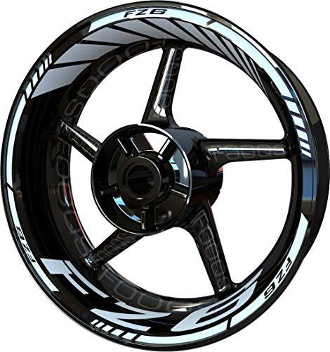Motocicleta Moto Llanta Inner Rim Tape Decal Pegatinas F2 para Yamaha FZ6 FZ-6 FZ 6 (Blanco)