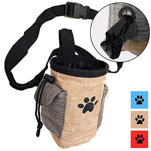 Pet Leckerli Tasche für Hunde Training Tasche mit Gürtel trägt Pet Spielzeug Kibble Leckerlis Sport Running in der Taille Tasche Poop Bag Spender, Beige