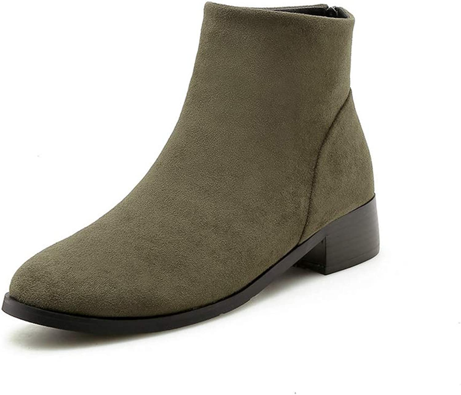 T-JULY New Winter Ankle Boots Women Square High Heels shoes Female Fashion Zip Short Plush Round Toe Boots