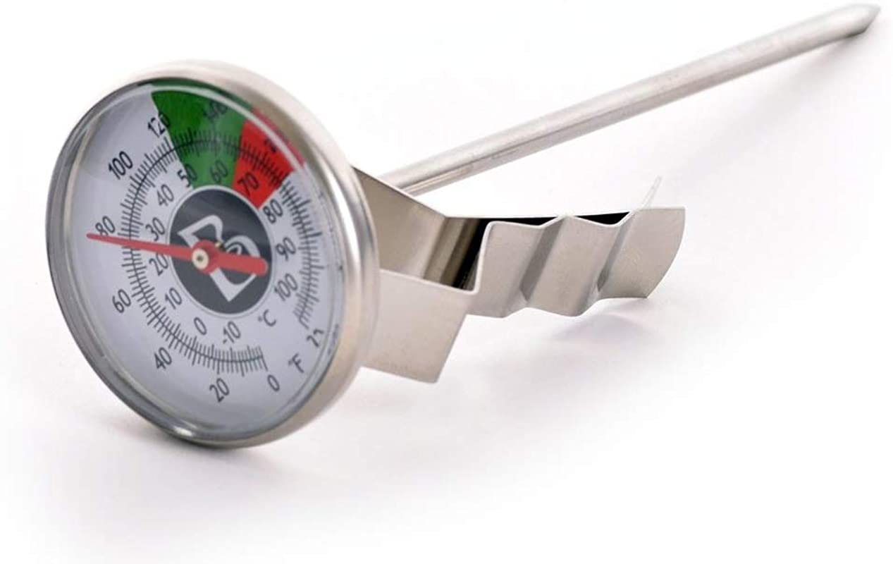 Brewista Short Frothing Thermometer 5 Inch With Clip BFTHRMS 5 Inch Stainless Steel