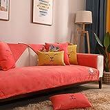 Hybad überzug Couch,Sofa-überzug,Sofa bezüge,Plüsch Kaninchenecke Couchbezug werfen,dünne rutschfeste Sofabezüge,Kindersofa Protector Cover,Armlehnenbezug,Kissenbezug-rot_110 * 180cm
