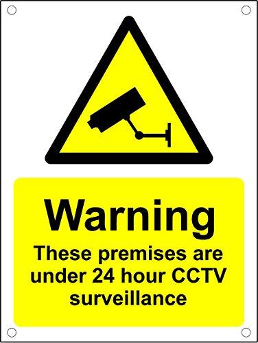 avertissement des locaux protégés 24heures Surveillance CCTV pré-percés Sign–3mm en aluminium Composite Ultra Hi-durability Sign–300mm x 200mm
