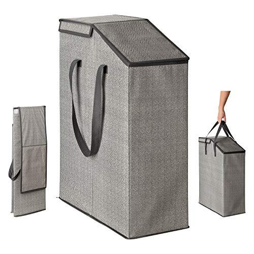 TOPP4u Cesta para la ropa con tapa, plegable, para nichos con mucho volumen, 52 litros, 20 x 45 x 60 cm, diseño de espina de pez, color gris y beige.