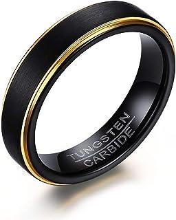 زيمي مجوهرات خاتم خطوبة من كربيد التنجستين الأسود 5 مم للرجال ، حافة مطلية بالذهب ، مقاس 7-12