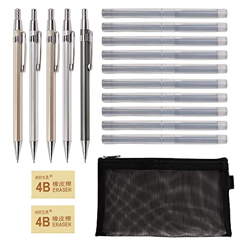 18 piezas Lápiz Mecánico Juego de lápices automáticos, lápices 2B, bolígrafos para bocetos con recarga de lápiz, recargas intercambiables, herramientas de dibujo para bocetos(0,7mm)