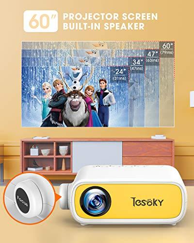 Tesoky YG280 Proyector para Movil, Proyector Portatil Compatible con USB/HDMI/DC/AV, Soporta Full HD y 23 Idiomas, Mini… 4