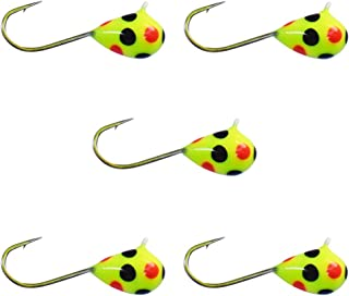 Kenders Outdoors (5 Pack Tungsten Jigs Chartreuse Orange Black SPOT Glow